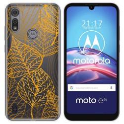 Funda Gel Transparente para Motorola Moto e6s diseño Hojas Dibujos