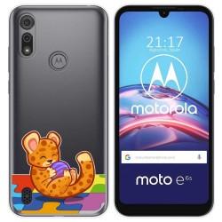 Funda Gel Transparente para Motorola Moto e6s diseño Leopardo Dibujos
