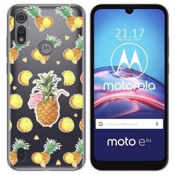Funda Gel Transparente para Motorola Moto e6s diseño Piña Dibujos
