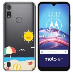 Funda Gel Transparente para Motorola Moto e6s diseño Playa Dibujos