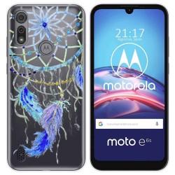 Funda Gel Transparente para Motorola Moto e6s diseño Plumas Dibujos