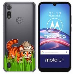 Funda Gel Transparente para Motorola Moto e6s diseño Tigre Dibujos