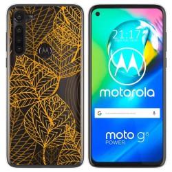 Funda Gel Transparente para Motorola Moto G8 Power diseño Hojas Dibujos