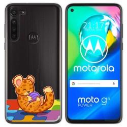 Funda Gel Transparente para Motorola Moto G8 Power diseño Leopardo Dibujos