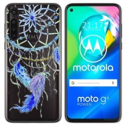 Funda Gel Transparente para Motorola Moto G8 Power diseño Plumas Dibujos