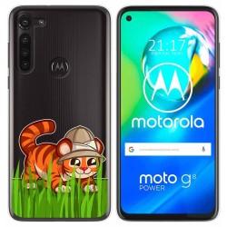 Funda Gel Transparente para Motorola Moto G8 Power diseño Tigre Dibujos