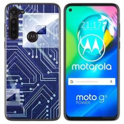 Funda Gel Tpu para Motorola Moto G8 Power diseño Circuito Dibujos