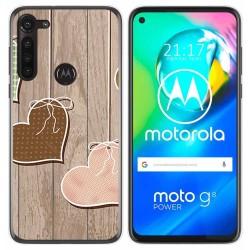 Funda Gel Tpu para Motorola Moto G8 Power diseño Corazones Madera Dibujos