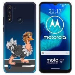 Funda Gel Transparente para Motorola Moto G8 Power Lite diseño Avestruz Dibujos