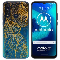 Funda Gel Transparente para Motorola Moto G8 Power Lite diseño Hojas Dibujos