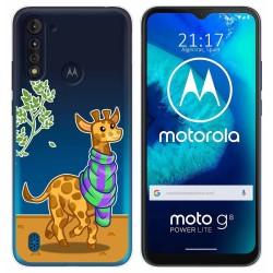 Funda Gel Transparente para Motorola Moto G8 Power Lite diseño Jirafa Dibujos