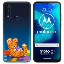 Funda Gel Transparente para Motorola Moto G8 Power Lite diseño Leopardo Dibujos