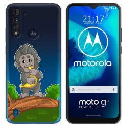 Funda Gel Transparente para Motorola Moto G8 Power Lite diseño Mono Dibujos