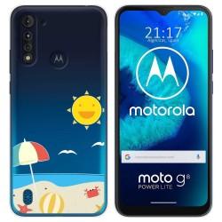 Funda Gel Transparente para Motorola Moto G8 Power Lite diseño Playa Dibujos