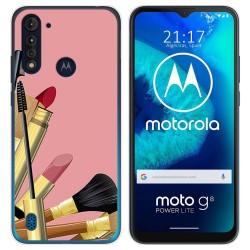 Funda Gel Tpu para Motorola Moto G8 Power Lite diseño Brochas Dibujos