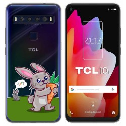 Funda Gel Transparente para TCL 10L diseño Conejo Dibujos