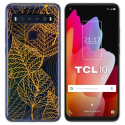 Funda Gel Transparente para TCL 10L diseño Hojas Dibujos
