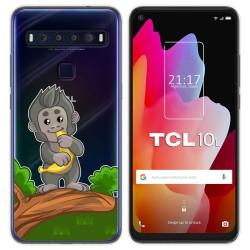 Funda Gel Transparente para TCL 10L diseño Mono Dibujos