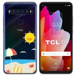Funda Gel Transparente para TCL 10L diseño Playa Dibujos