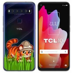 Funda Gel Transparente para TCL 10L diseño Tigre Dibujos