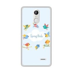 Funda Gel Tpu para Leagoo M5 Plus Diseño Spring Birds Dibujos