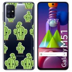 Funda Gel Transparente para Samsung Galaxy M51 diseño Cactus Dibujos