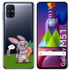 Funda Gel Transparente para Samsung Galaxy M51 diseño Conejo Dibujos