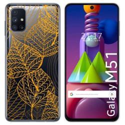 Funda Gel Transparente para Samsung Galaxy M51 diseño Hojas Dibujos