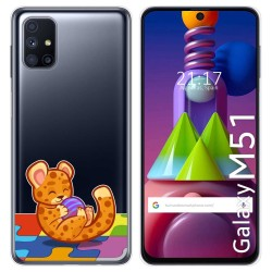Funda Gel Transparente para Samsung Galaxy M51 diseño Leopardo Dibujos