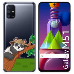 Funda Gel Transparente para Samsung Galaxy M51 diseño Panda Dibujos