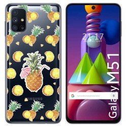Funda Gel Transparente para Samsung Galaxy M51 diseño Piña Dibujos