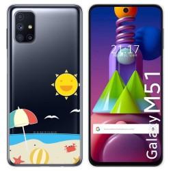Funda Gel Transparente para Samsung Galaxy M51 diseño Playa Dibujos