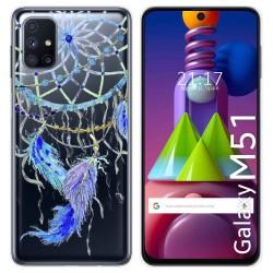 Funda Gel Transparente para Samsung Galaxy M51 diseño Plumas Dibujos