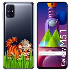 Funda Gel Transparente para Samsung Galaxy M51 diseño Tigre Dibujos