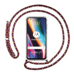 Funda Colgante Transparente para Motorola Moto G 5G Plus con Cordon Rosa / Dorado