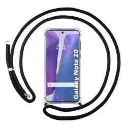 Funda Colgante Transparente para Samsung Galaxy Note 20 con Cordon Negro