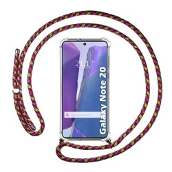 Funda Colgante Transparente para Samsung Galaxy Note 20 con Cordon Rosa / Dorado