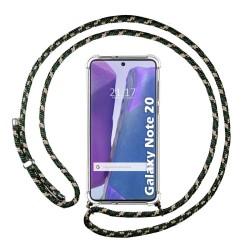 Funda Colgante Transparente para Samsung Galaxy Note 20 con Cordon Verde / Dorado