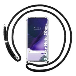 Funda Colgante Transparente para Samsung Galaxy Note 20 Ultra con Cordon Negro
