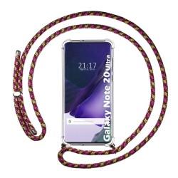 Funda Colgante Transparente para Samsung Galaxy Note 20 Ultra con Cordon Rosa / Dorado