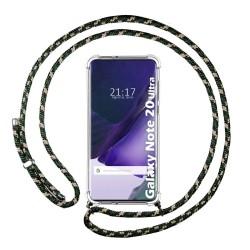Funda Colgante Transparente para Samsung Galaxy Note 20 Ultra con Cordon Verde / Dorado
