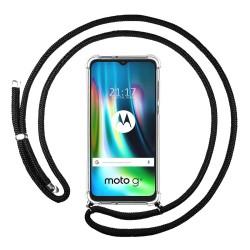 Funda Colgante Transparente para Motorola Moto G9 Play / E7 Plus con Cordon Negro