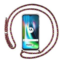 Funda Colgante Transparente para Motorola Moto G9 Play / E7 Plus con Cordon Rosa / Dorado