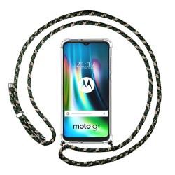 Funda Colgante Transparente para Motorola Moto G9 Play / E7 Plus con Cordon Verde / Dorado