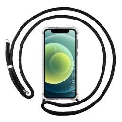 Funda Colgante Transparente para Iphone 12 Mini (5.4) con Cordon Negro
