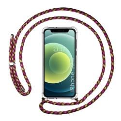 Funda Colgante Transparente para Iphone 12 Mini (5.4) con Cordon Rosa / Dorado