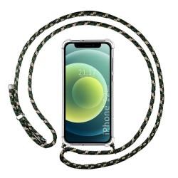 Funda Colgante Transparente para Iphone 12 Mini (5.4) con Cordon Verde / Dorado