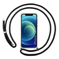 Funda Colgante Transparente para Iphone 12 / 12 Pro (6.1) con Cordon Negro
