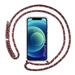 Funda Colgante Transparente para Iphone 12 / 12 Pro (6.1) con Cordon Rosa / Dorado