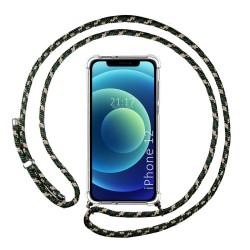 Funda Colgante Transparente para Iphone 12 / 12 Pro (6.1) con Cordon Verde / Dorado